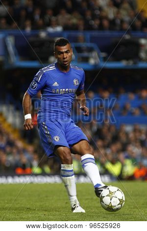 LONDON, ENGLAND. September 19 2012 Chelsea's English defender Ashley Cole during the UEFA Champions League football match between Chelsea and Juventus played at Stamford Bridge