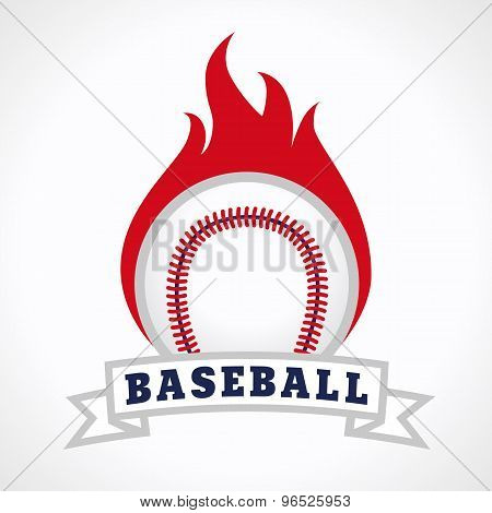 Flying and flaming baseball ball. Fiery sign, vector logo of teams, national competitions, union, matches, leagues or sport equipment shop. Children's schools, kid's sport clubs or junior's tour icon.
