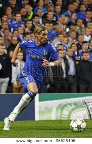 LONDON, ENGLAND. September 19 2012 Chelsea's Spanish forward Fernando Torres  during the UEFA Champions League football match between Chelsea and Juventus played at Stamford Bridge