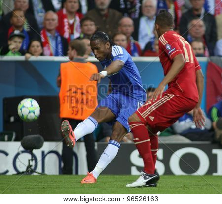 MUNICH, GERMANY May 19 2012. Chelsea's Ivory Coast forward Didier Drogba and Bayern's German defender Jerome Boateng in action during the 2012 UEFA Champions League Final at the Allianz Arena Munich