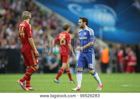 MUNICH, GERMANY May 19 2012. Bayern's Ukrainian midfielder Anatoliy Tymoshchuk and Chelsea's  midfielder Juan Mata in action during the 2012 UEFA Champions League Final at the Allianz Arena Munich