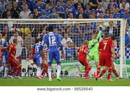 MUNICH, GERMANY May 19 2012. Chelsea's Ivory Coast forward Didier Drogba (not pictured) scores the equaliser during the 2012 UEFA Champions League Final at the Allianz Arena Munich