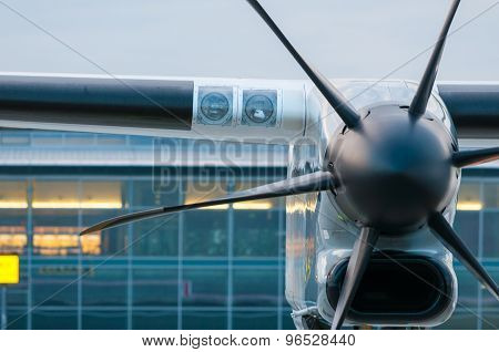 Propeller Engine of the airplane at airport