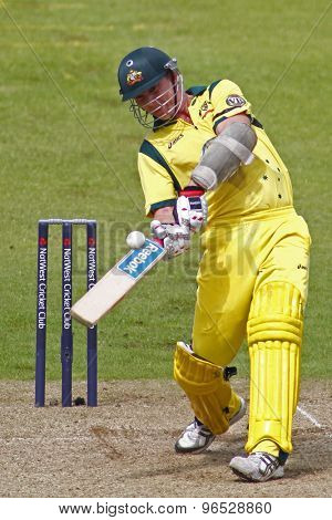CHESTER LE STREET, ENGLAND. JULY 07 2012: Australia's Brett Lee, hits the ball but is caught out by England's Stuart Broad, during the 4th one day international between England and Australia