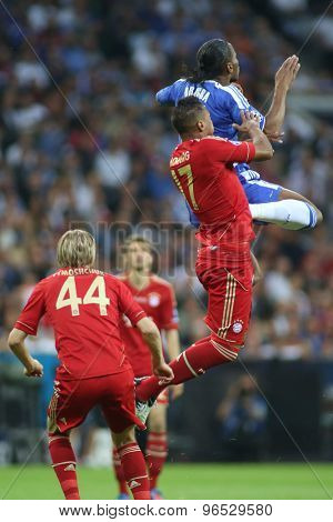 MUNICH, GERMANY May 19 2012. Bayern's German defender Jerome Boateng and Chelsea's Ivory Coast forward Didier Drogba in action during the 2012 UEFA Champions League Final at the Allianz Arena Munich