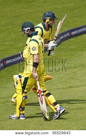 CHESTER LE STREET, ENGLAND. JULY 07 2012: Australia's George Bailey, departs and is replaced by Australia's David Hussey, during the 4th one day international between England and Australia