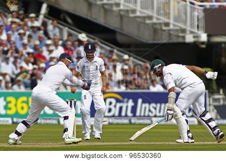 LONDON, ENGLAND. AUGUST 17 2012 England's Matt Prior stumps out South Africa's Vernon Philander during the third Investec cricket  test match between England and South Africa, at Lords Cricket Ground