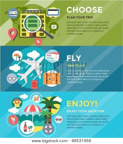 Vacation summer travel infographic. Booking, Fly and Summer. Vector stock illustrations for design.