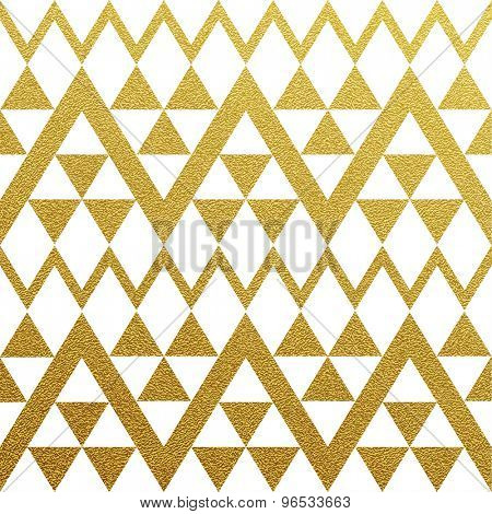 Gold glittering seamless pattern of triangles on white background.