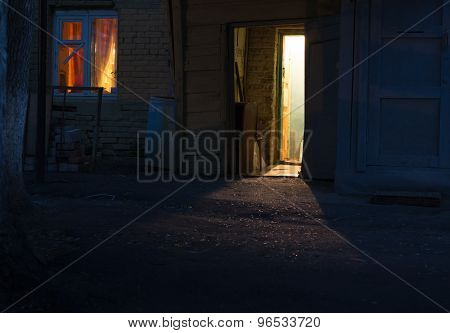 Doorway At Night In Shadow