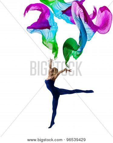 Dancer Woman Gymnastic, Flying Cloth, Girl Gymnast Pose With Waving Fabric