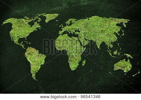 Map Of The World Made Of Green Grass, Concept Of Ecology And Green Economy