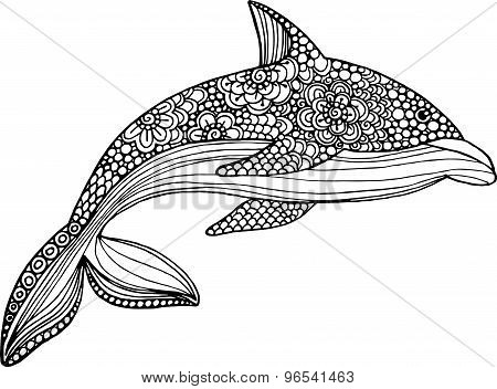 Vector Hand Drawn Dolphin Illustration With Doodle Ornaments.