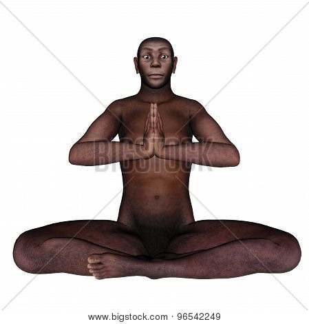 Female homo erectus sitting in meditation - 3D render