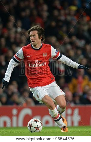 LONDON, ENGLAND - Nov 26 2013: Arsenal's Tomas Rosicky during the UEFA Champions League match between Arsenal and Olympique de Marseille, at The Emirates Stadium