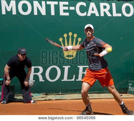 MONTE CARLO, MONACO. APRIL 17 2012 Andy Murray (GBR) in action during the second round match betweenAndy Murray (GBR) and Viktor Troicki (SRB)  at the ATP Monte Carlo Masters  .