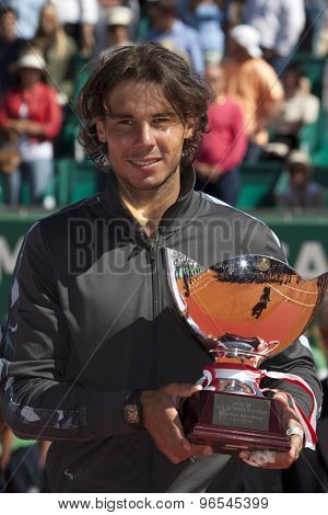 MONTE CARLO, MONACO. APRIL 22 2012Rafael Nadal (ESP) with his trophy for winning the final of the singles  at the ATP Monte Carlo Masters