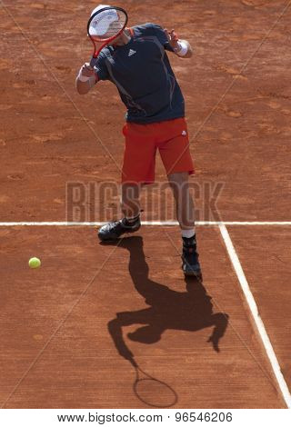 MONTE CARLO, MONACO. APRIL 20 2012 Andy Murray (GBR) in action during the quarter final singles match between Andy Murray (GBR) and Tomas Berdych (CZE) at the ATP Monte Carlo Masters  .