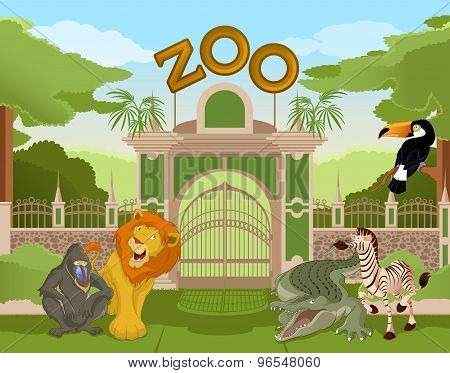 Zoo Gate With African Animals 2