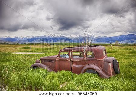 Rusting Jalopy On Montana Farm