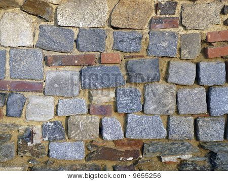 Castle-wall with cobblestones in Cheb (Eger) in Bohemia Czech Republic. The castle of Cheb is one of the most beautiful Romanesque monuments of Middle-Europe. poster