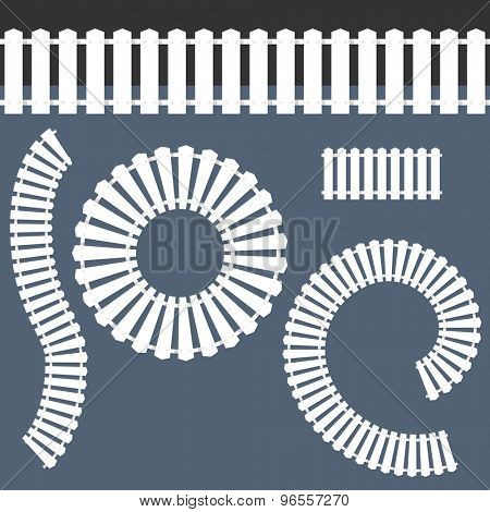 An image of a white picket fence icon set.