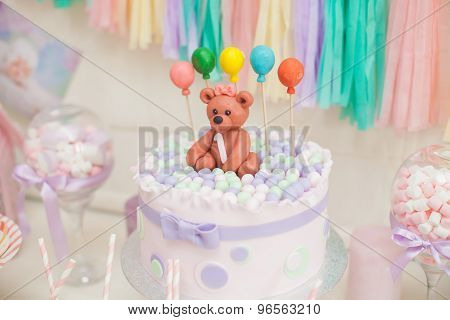 candy bar in pastel colors for children's birthday
