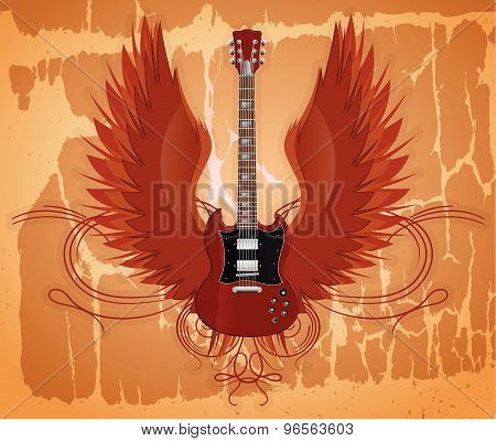 Electric guitar on the grunge background