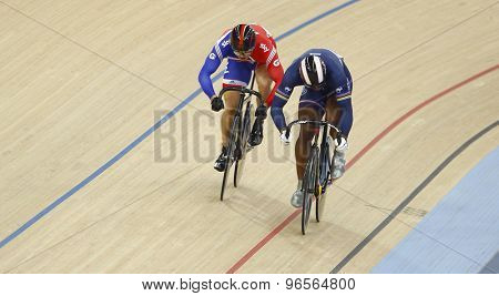 LONDON, ENGLAND. FEBRUARY 19 2012: Sir Chris Hoy (GBR)(L) and Gregory Bauge (FRA)(R) compete at the UCI Track Cycling World Cup at the London Velodrome, Queen Elizabeth 2nd Park