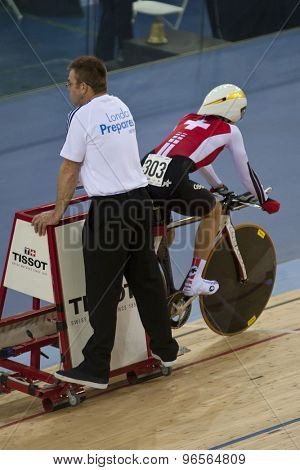 LONDON, ENGLAND. FEBRUARY 18 2012: Pascale Schnider (SUI) in action at the UCI Track Cycling World Cup at the London Velodrome, Queen Elizabeth 2nd Park
