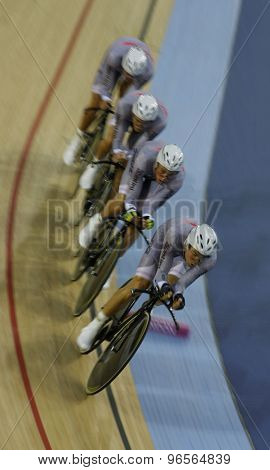 LONDON, ENGLAND. FEBRUARY 19 2012: Team Australia compete winners of the team pursuit at the UCI Track Cycling World Cup at the London Velodrome, Queen Elizabeth 2nd Park