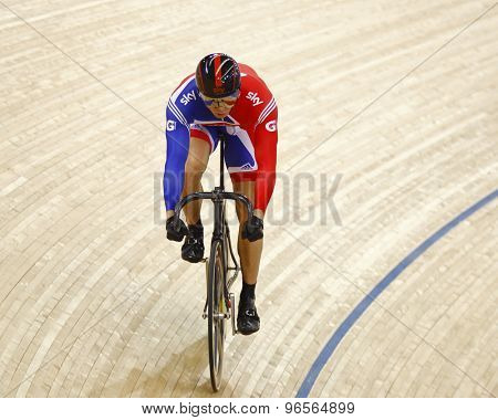 LONDON, ENGLAND. FEBRUARY 19 2012: Sir Chris Hoy (GBR) competes in the mens sprint at the UCI Track Cycling World Cup at the London Velodrome, Queen Elizabeth 2nd Park