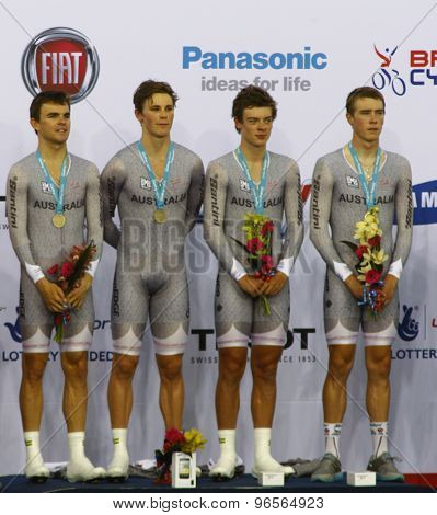 LONDON, ENGLAND. FEBRUARY 19 2012: Australia men's team winners of the team pursuit at the UCI Track Cycling World Cup at the London Velodrome, Queen Elizabeth 2nd Park