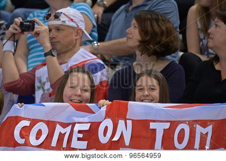 LONDON, GREAT BRITAIN - APRIL 27 2015: Tom Daley fans  during the FINA/NVC Diving World Series at the London Aquatics Centre