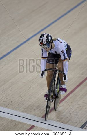 LONDON, ENGLAND. FEBRUARY 18 2012: Kristina Vogel (GER) in action during the womens sprint at the UCI Track Cycling World Cup at the London Velodrome, Queen Elizabeth 2nd Park