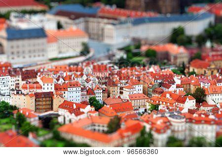 Tilt-shift miniature effect of the European City, Prague, Czech Republic