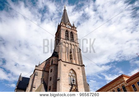 Exterior of old gothic christian church in Prague, Czech Republic in Europe poster
