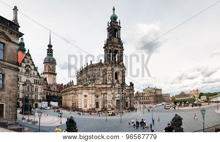Square with Cathedral of the Holy Trinity (Katholische Hofkirche) in Dresden