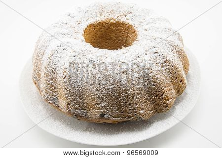 Classic Cake With Icing Sugar And Hole In The Center