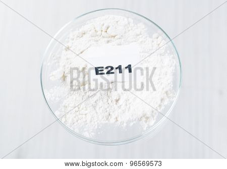 E211 Sodium benzoate. Preservatives substances that are added to products such as foods, pharmaceuticals, etc. to prevent decomposition by microbial growth or by undesirable chemical changes.  poster