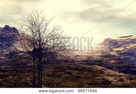 3D illustration of mountainous landscape