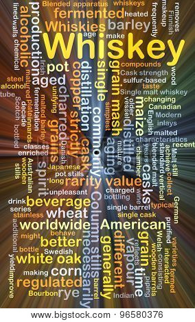 Background concept wordcloud illustration of whiskey glowing light