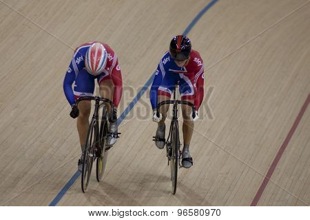 LONDON, ENGLAND. FEBRUARY 18 2012: Victoria Pendleton (GBR) (R) and Jess Varnish (GBR)(L) in action at the UCI Track Cycling World Cup at the London Velodrome, Queen Elizabeth 2nd Park