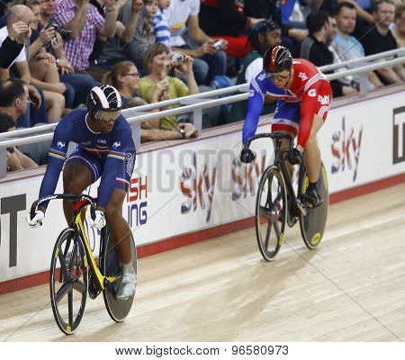 LONDON, ENGLAND. FEBRUARY 19 2012: Sir Chris Hoy (GBR)(r) and Gregory Bauge (FRA)(l) compete at the UCI Track Cycling World Cup at the London Velodrome, Queen Elizabeth 2nd Park