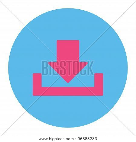Download icon from Primitive Round Buttons OverColor Set. This round flat button is drawn with pink and blue colors on a white background. poster