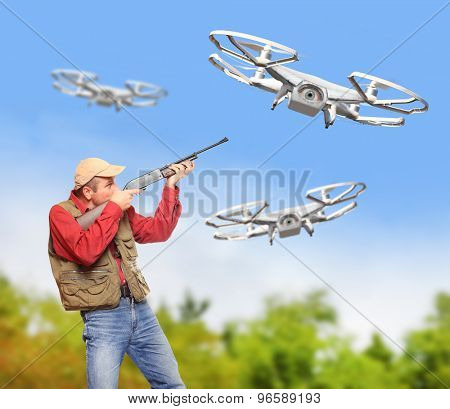Man with shotgun shooting down drone flying over his farm. Drone and privacy theme.  Digital artwork with fictional vehicle.