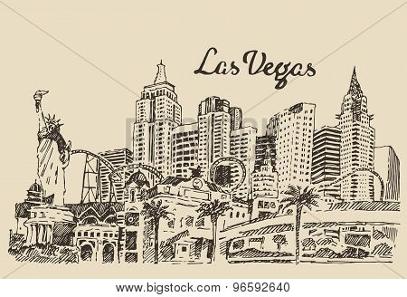 Las Vegas skyline engraved vector illustration