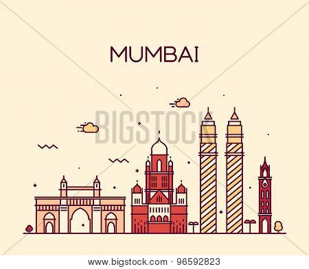 Mumbai City skyline vector illustration line art
