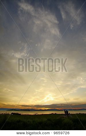 Golden Sunset And Islands