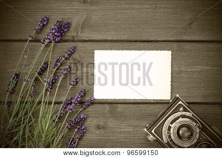 Vintage Photo With Lavender On Wooden Desk